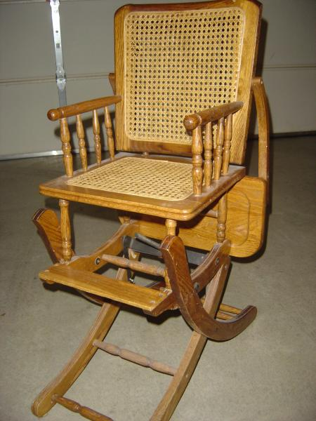 Wooden High Chair That Converts Into A Rocker Antique