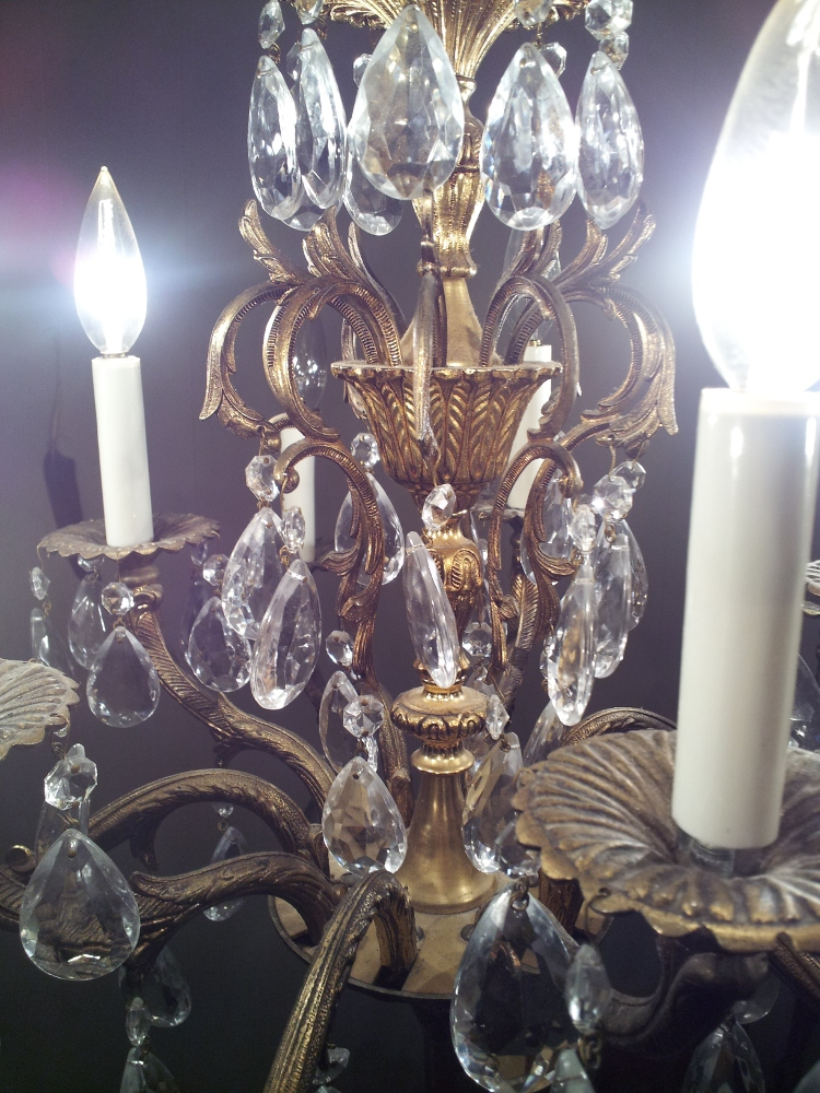 Pre Wwii 10 Arm Brass Crystal Chandelier