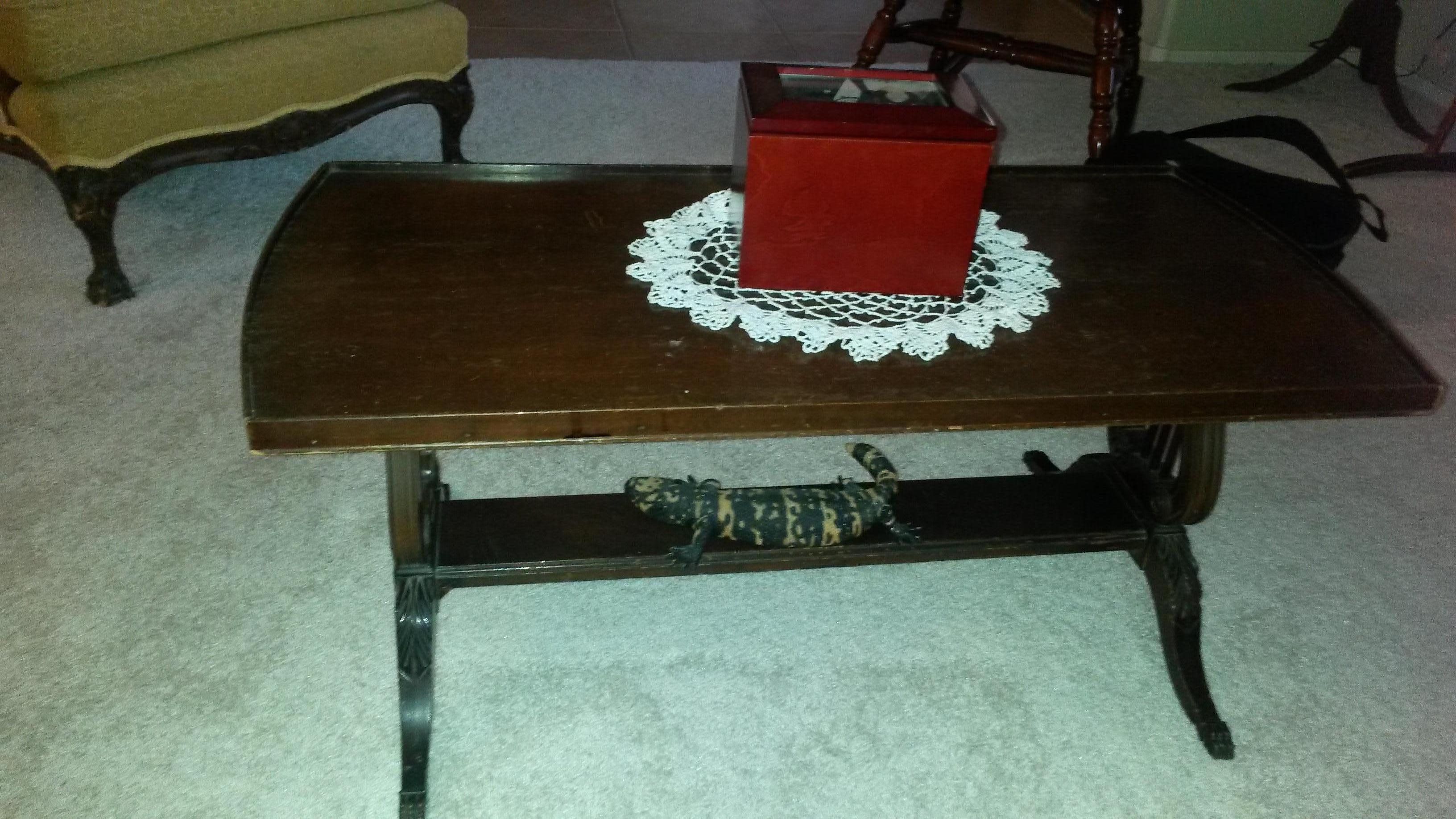 """Vintage Duncan Phyfe Sofa Chair Coffee Table Hutch Round """"Drum"""