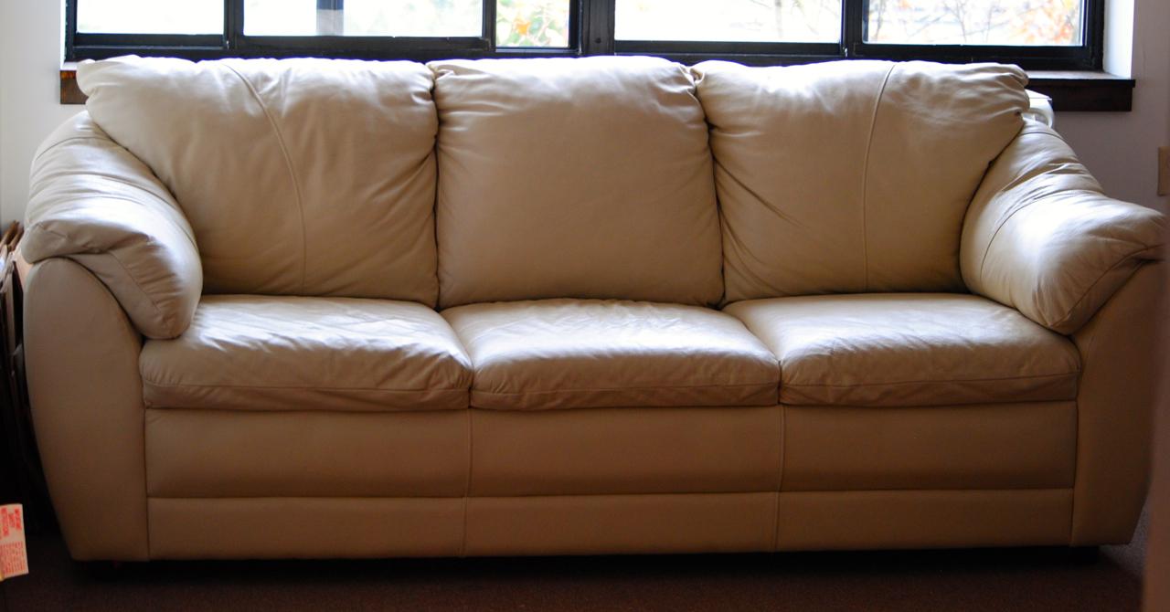 Astonishing Beige Leather Couch Antique Appraisal Instappraisal Customarchery Wood Chair Design Ideas Customarcherynet