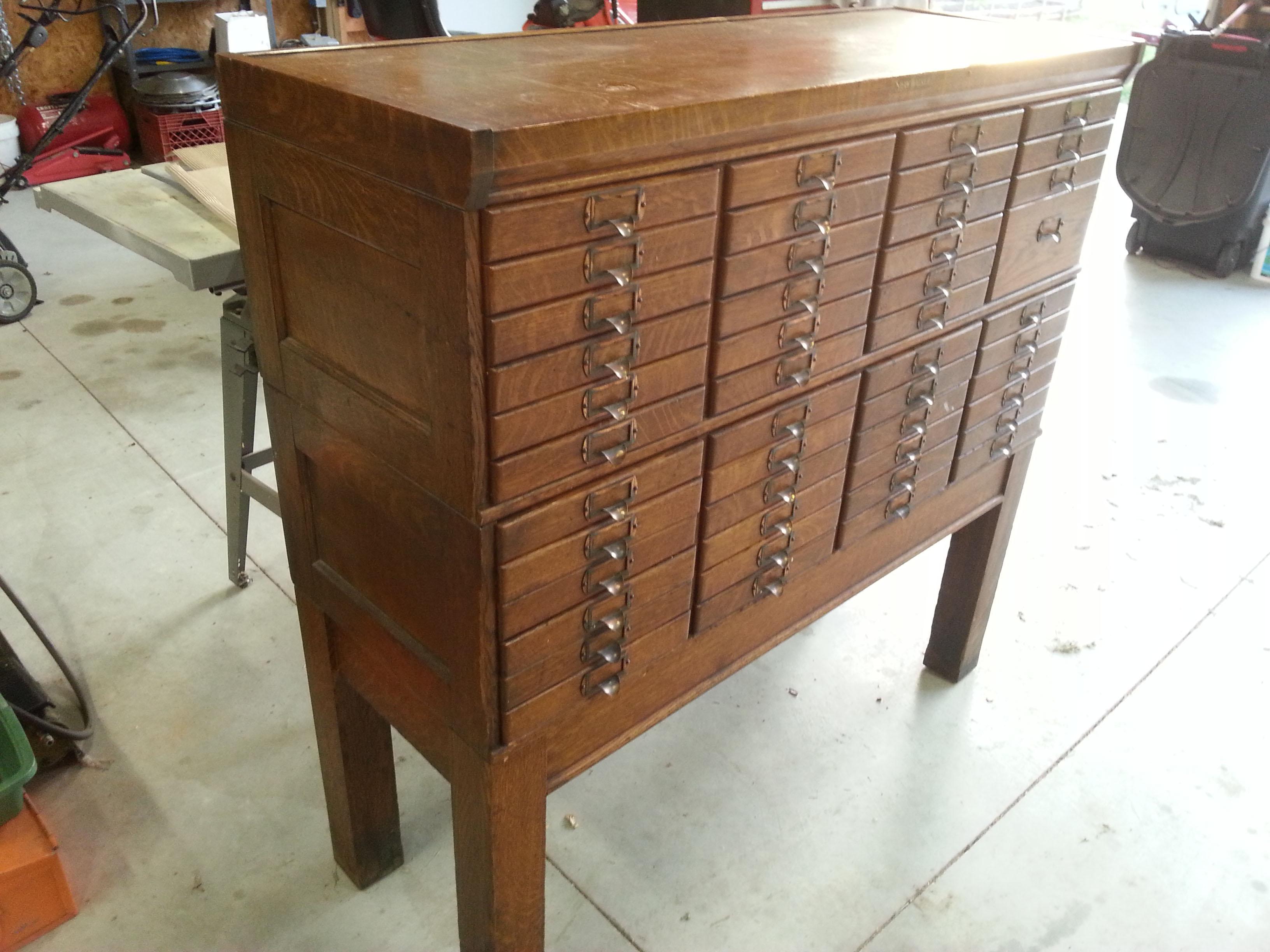 Shaw Walker Oak Cabinet 47 Drawers antique appraisal   InstAppraisal