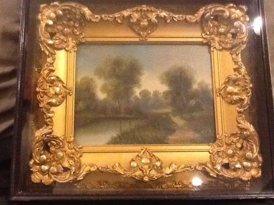 Antique Oil Painting In Gold Plaster Of Paris Boxed Frame Antique