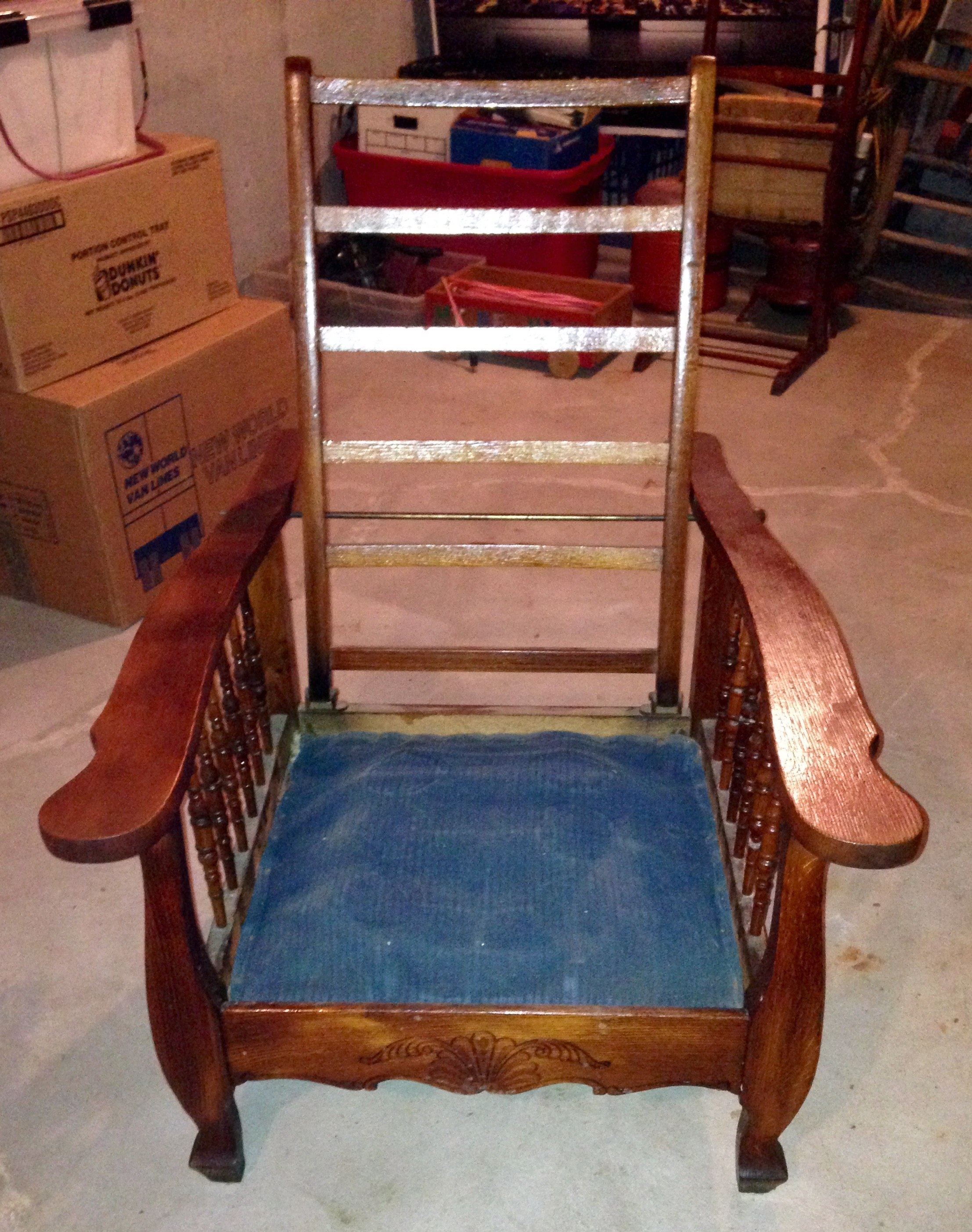 Antique Wood Chair With Adjustable Reclining Position