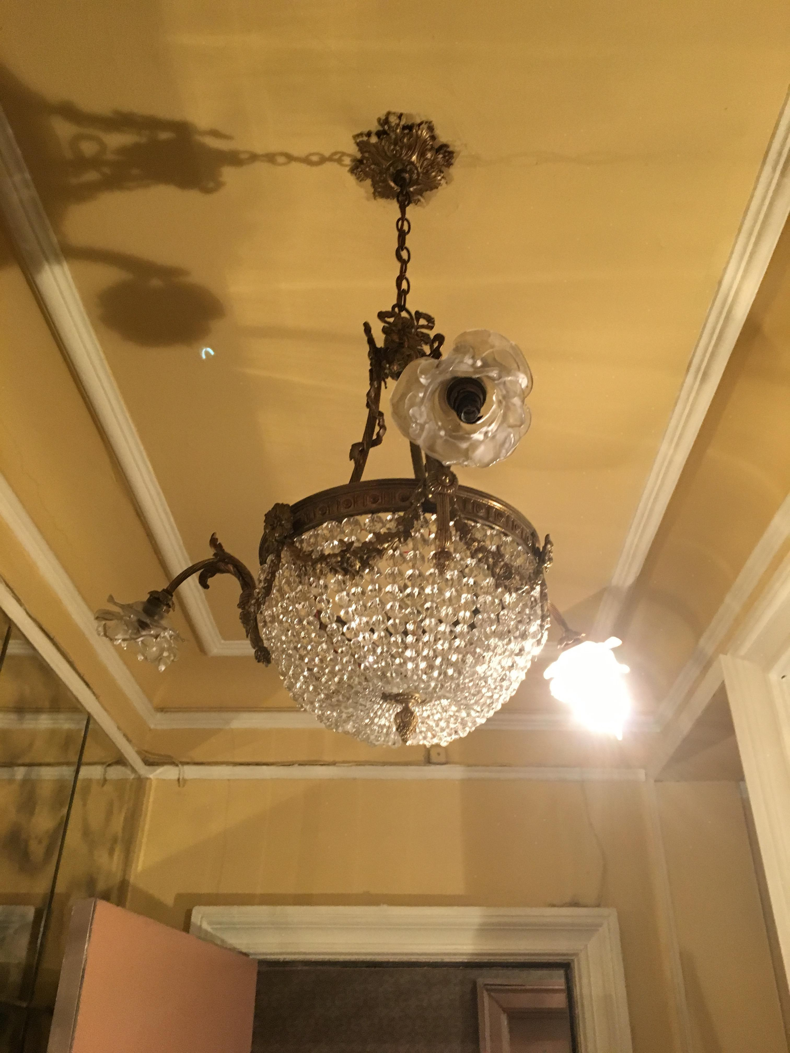 Vintage French Empire Style Crystal Chandelier