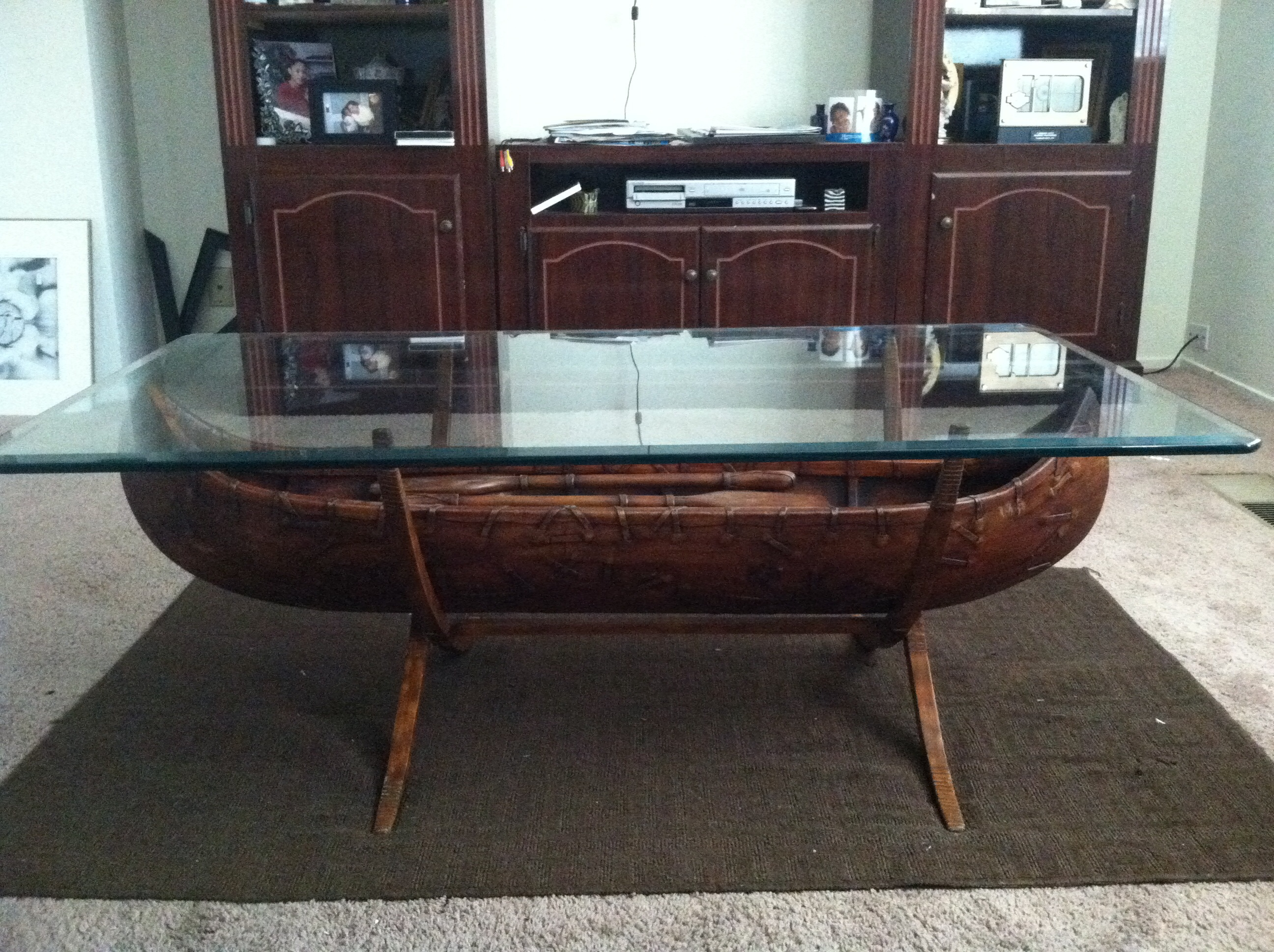Bob Timberlake Rare Canoe Glass Coffee Table antique appraisal