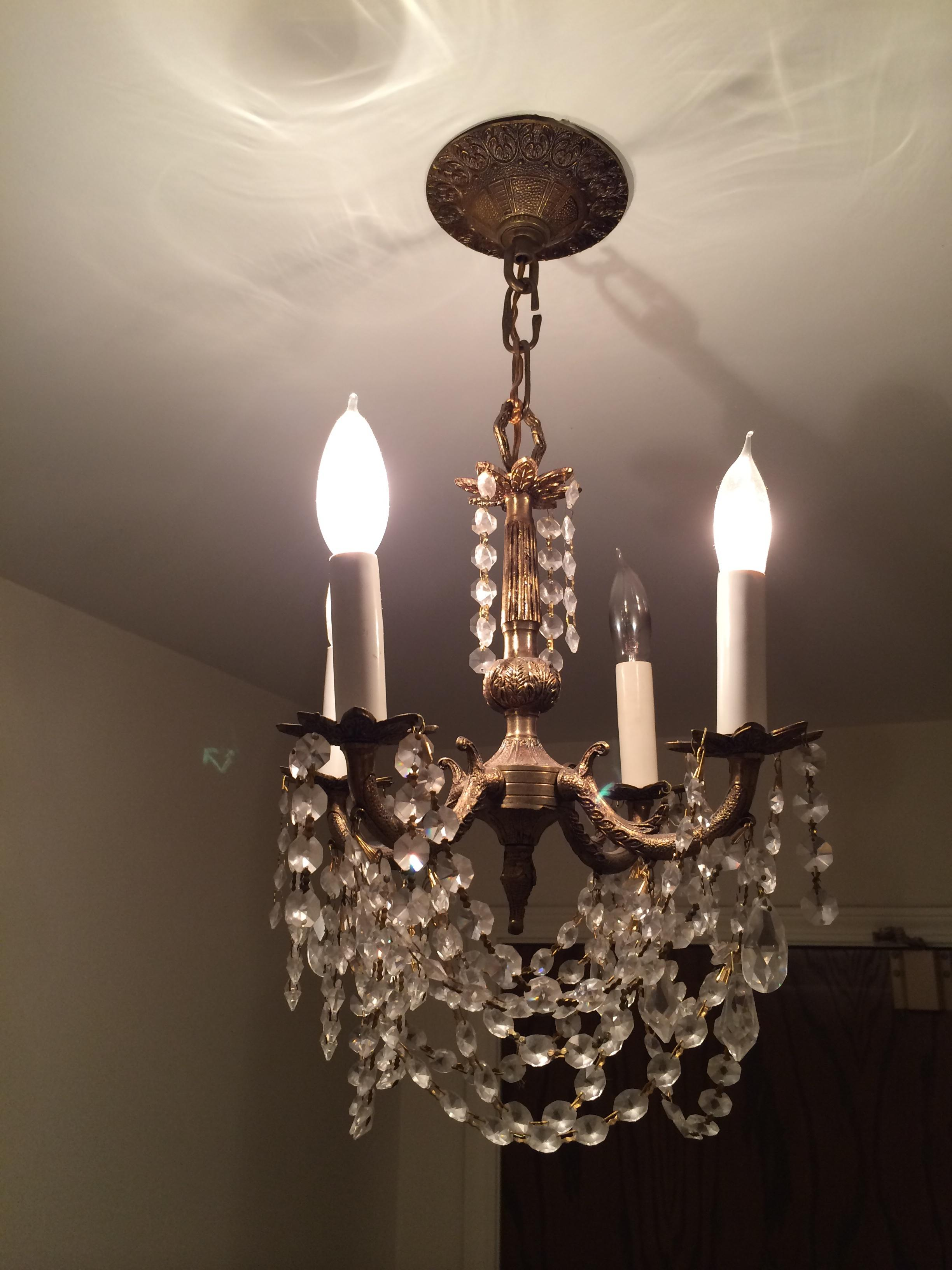 Small Antique Brass And Chrystal Chandelier Antique Appraisal Instappraisal