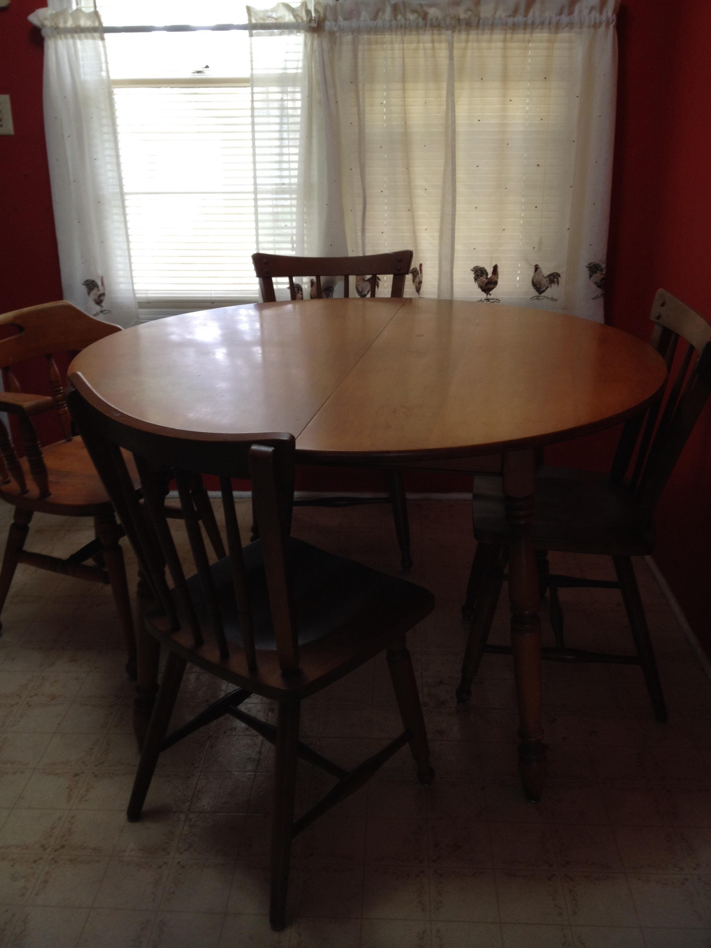 Ethan Allen Baumritter 1950 maple dining room table and 4 ...