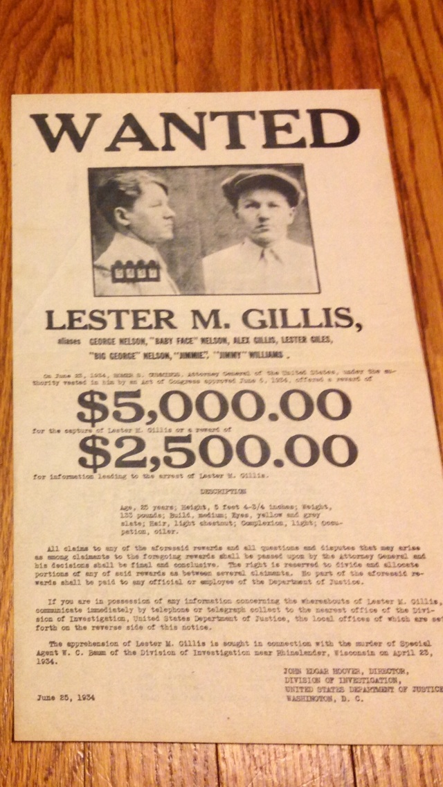 FBI wanted poster Baby Face Nelson antique appraisal ...