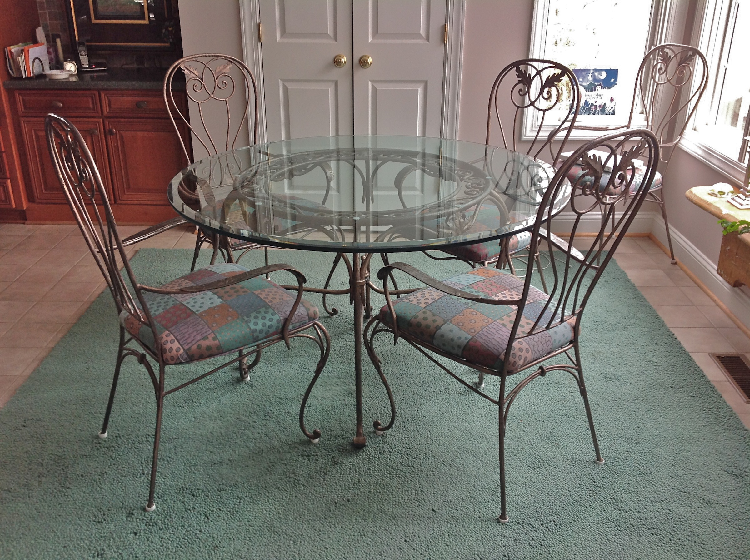 Drexel Heritage \'Signet\' Wrought Iron Dining Table and 5 ...