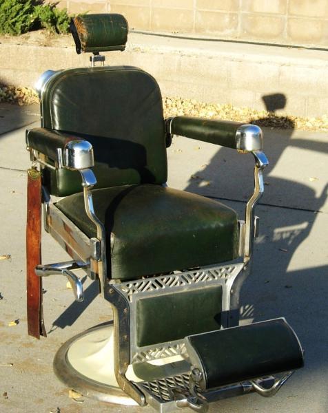 Koken Barber Chair Green Leather Porcelain Chrome