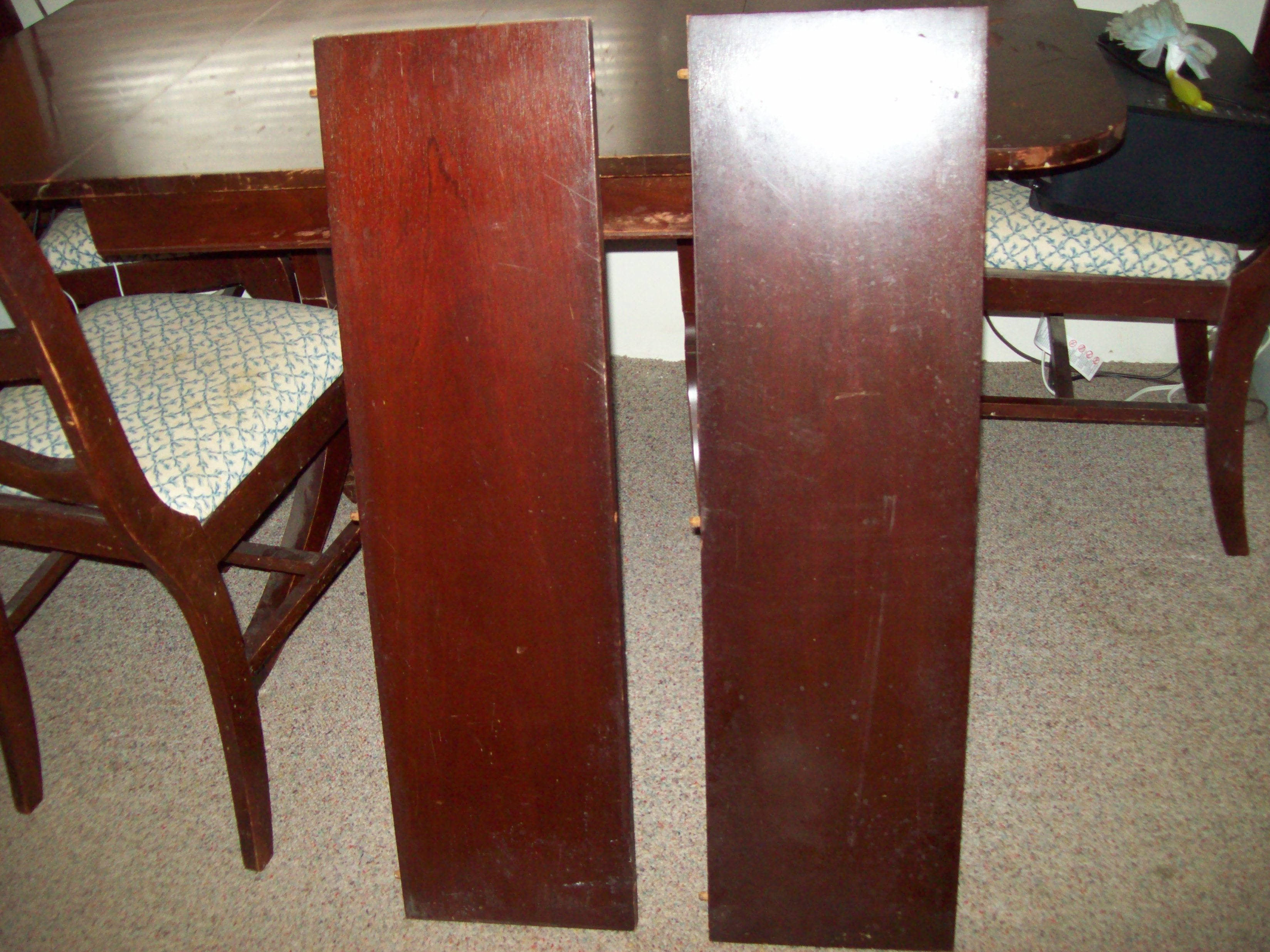 Antique Triple Pedastal Drop Leaf Dining Table With Two