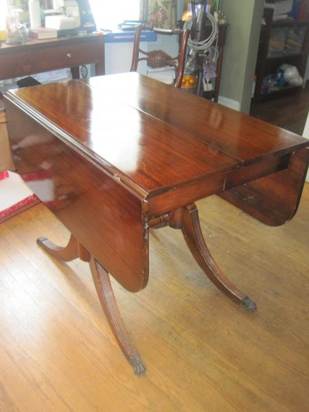 Brandt Mahogany Drop Leaf Claw Foot Table Antique