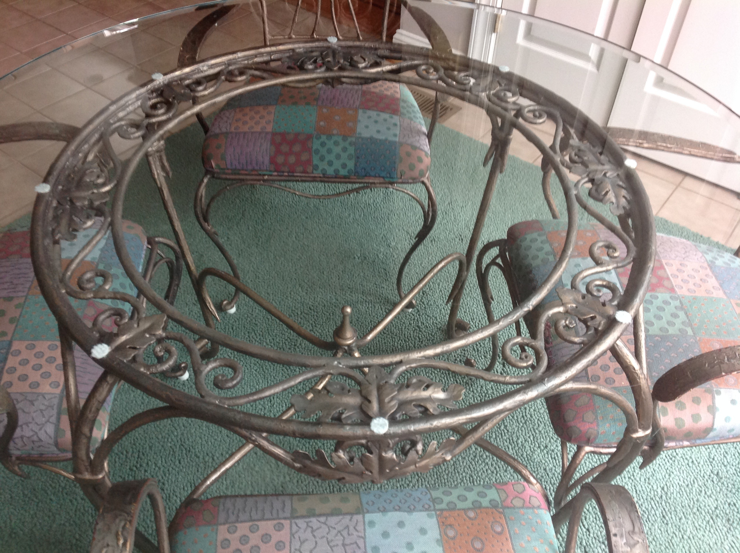 Drexel Heritage Signet Wrought Iron Dining Table And 5