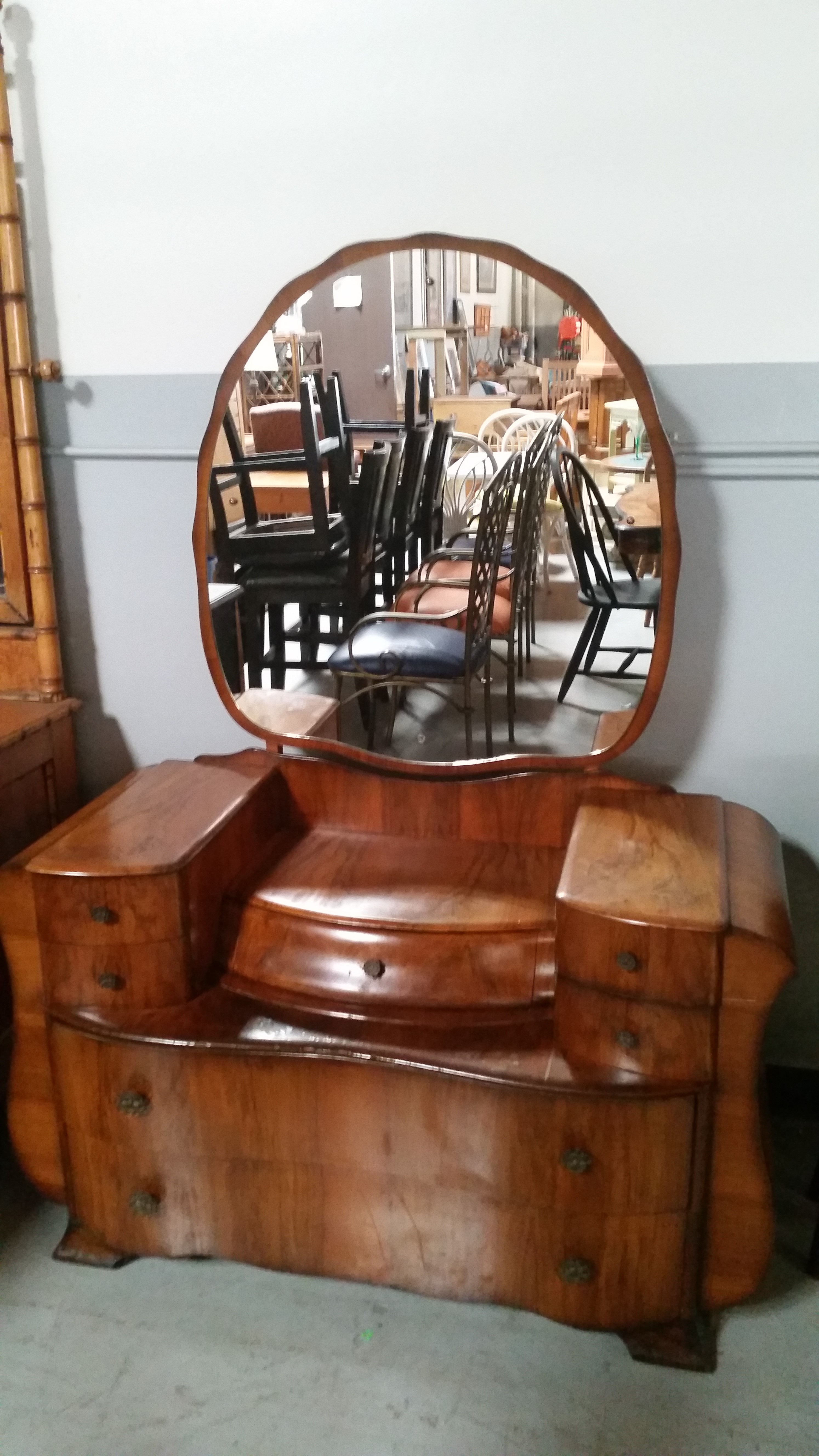 Antique Maple Wood Vanity Dresser With Mirror Antique
