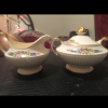 Ivory porcelains creamer and sugar jar