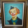 Oil painting on canvas of a Clown in original antique frame