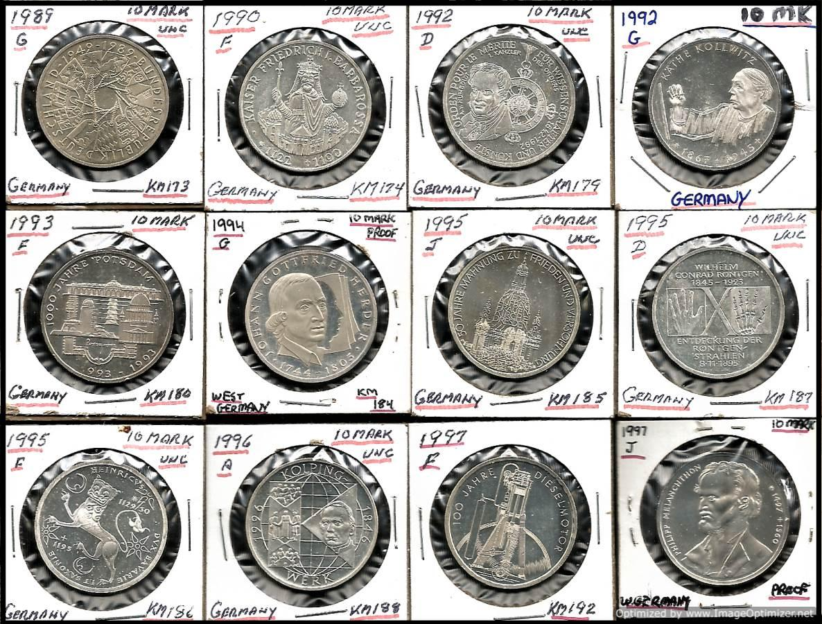 Germany 10 Mark (.625) Silver Coins lot of 12 appraisal
