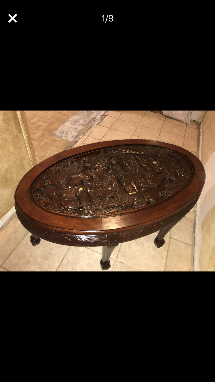 Antique Hand-Carved Wood Chinese Tea Table appraisal