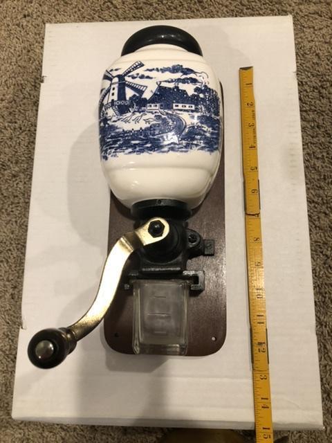 Vintage Blue Delft Windmill Coffee Grinder appraisal