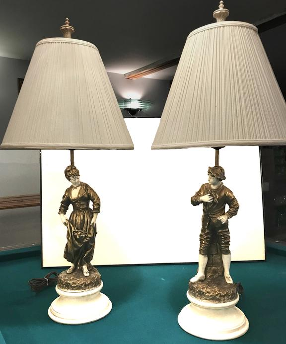 "Antique Pair of ""His & Hers""  Vintage Granitex Night Table Lamps  appraisal"