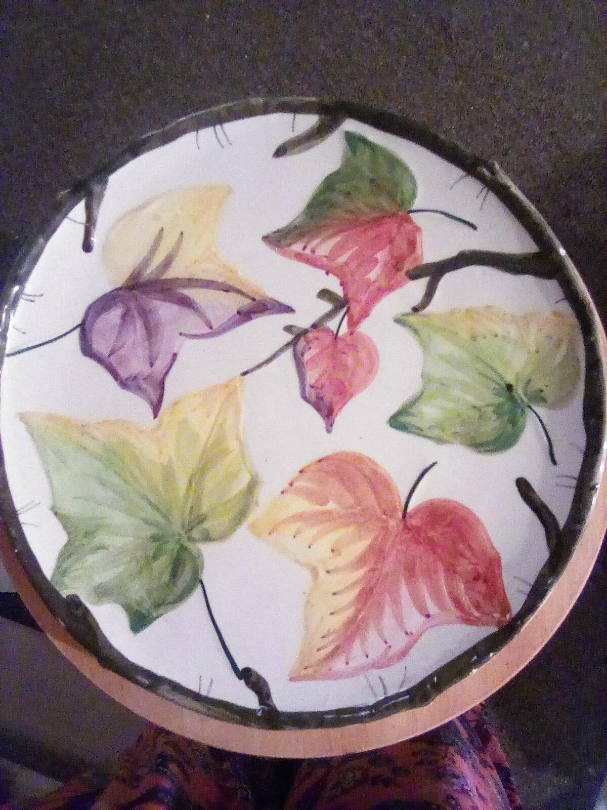 Vintage ceramic Italian hand painted with leaves appraisal