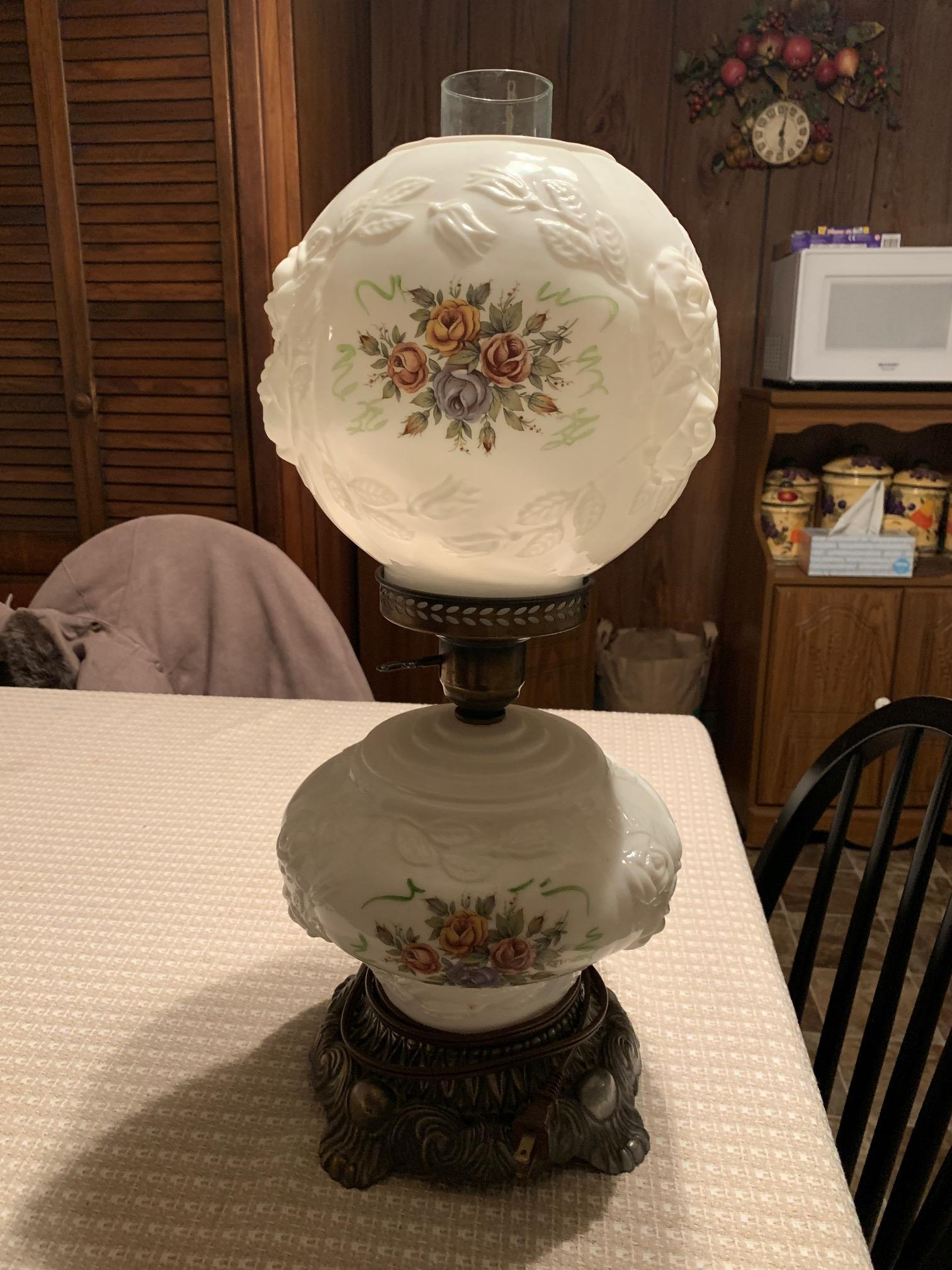 "Puffy Rose 3-way Gone with the Wind 21"" milk glass table lamp by EF & EF Industries appraisal"