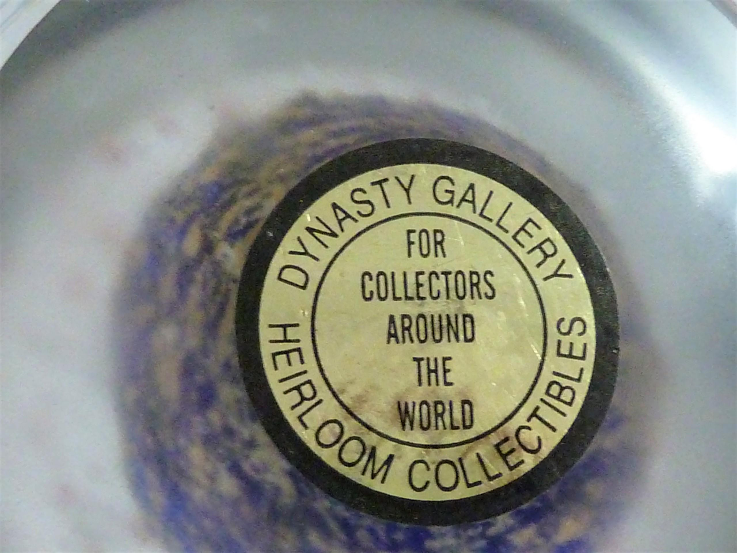 MAJESTIC LARGE GOLD/BLUE/WHITE BUBBLE LAYERED DYNASTY GALLERY HEIRLOOM GLASS PAPERWEIGHT  appraisal