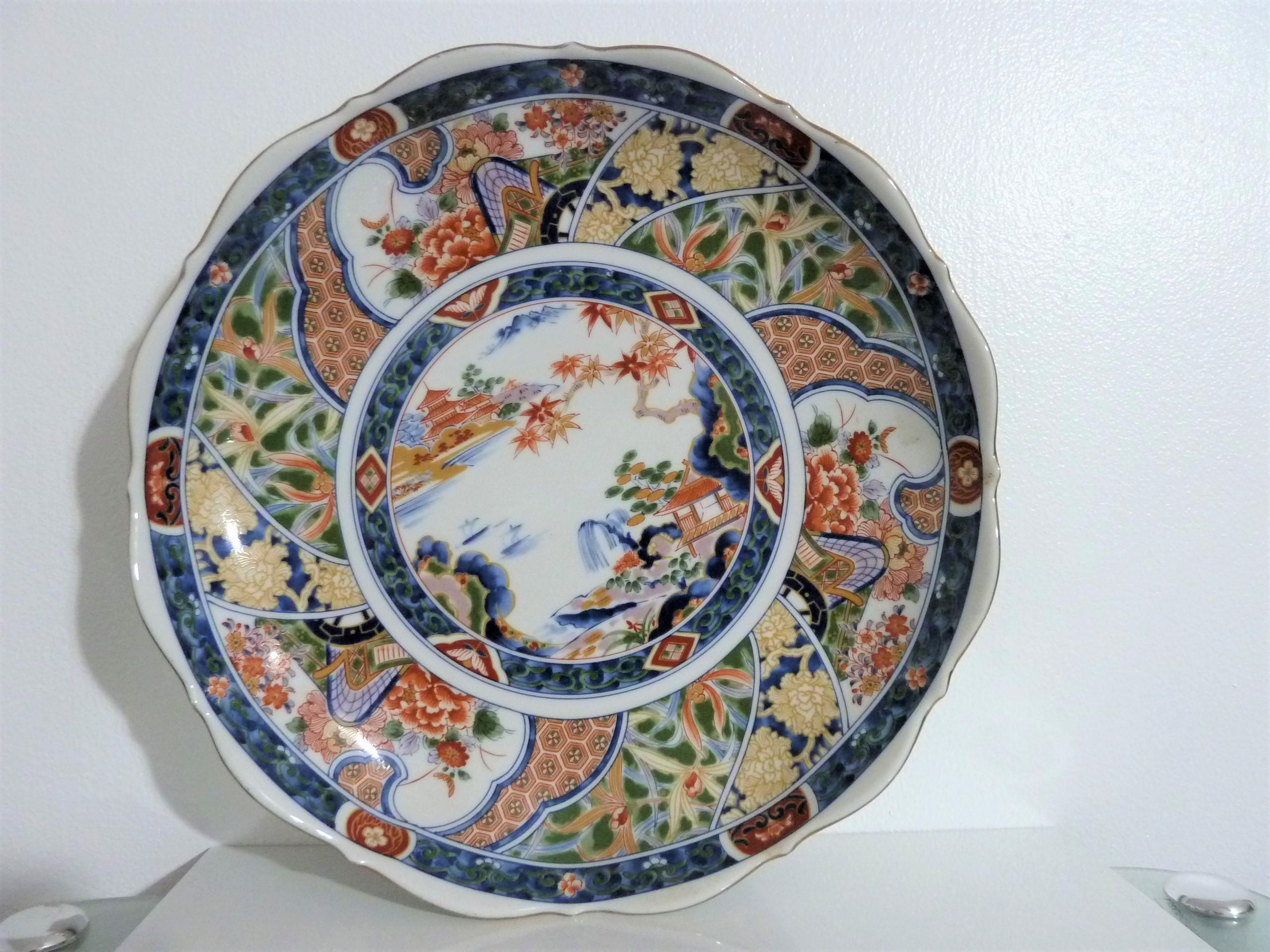 """ANTIQUE 10.25""""  CHINESE MULTI-COLORED PORCELAIN SCENIC PICTURE PLATTER  appraisal"""