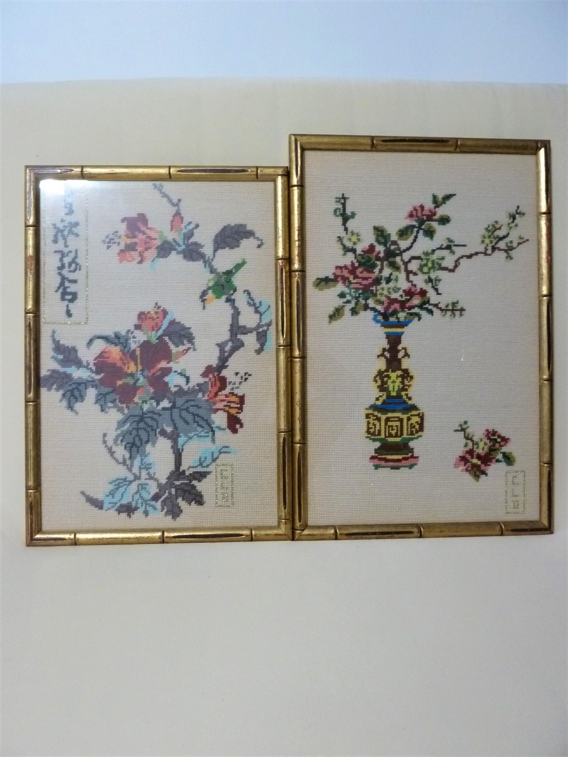2 ANTIQUE CHINESE SILK  NEEDLEPOINT IN WOOD FRAME appraisal