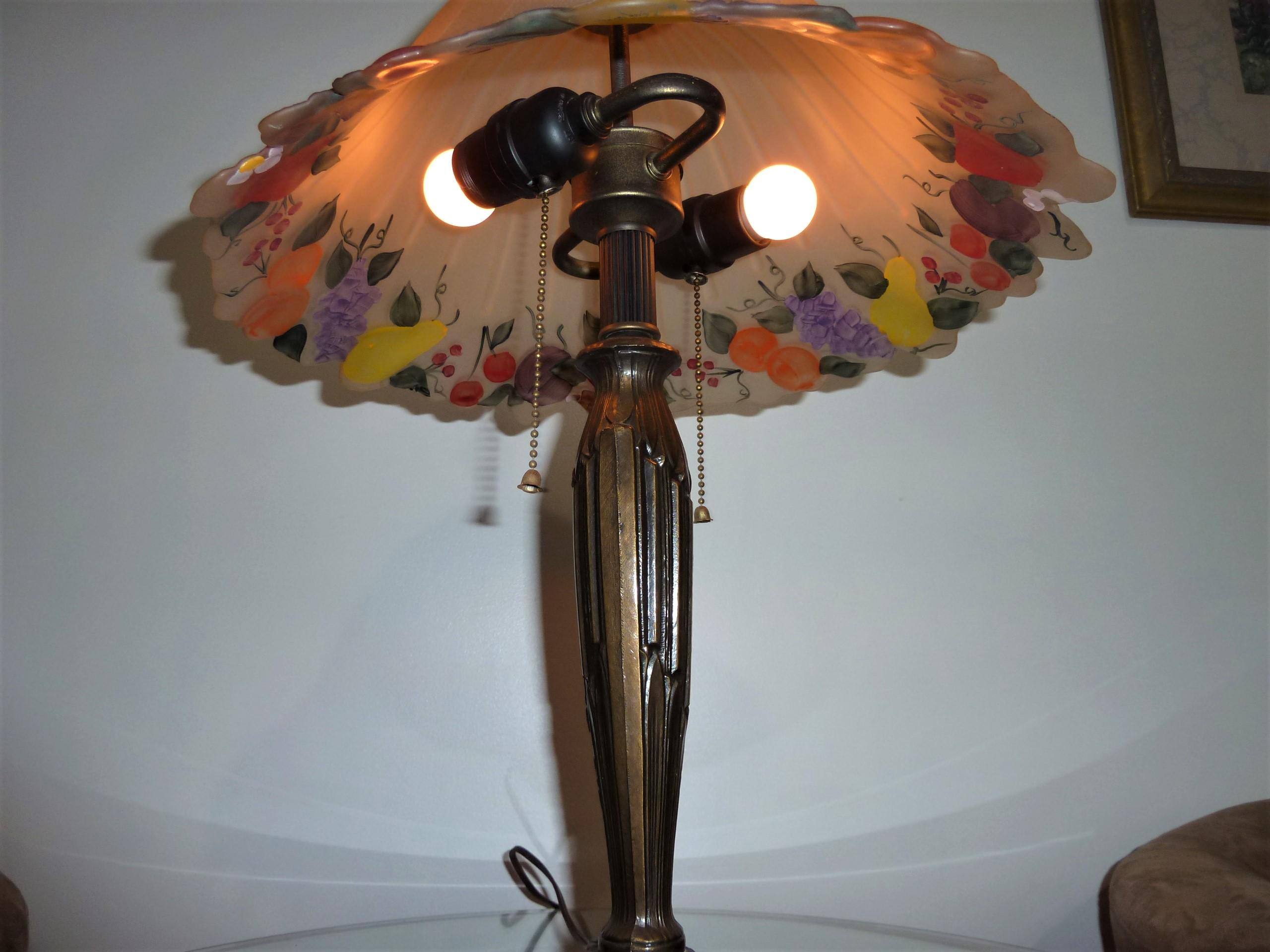 "BEAUTIFUL ANTIQUE 22.5"" VICTORIAN REVERSE PAINTED BOUDOIR FRUIT THEME LAMP appraisal"