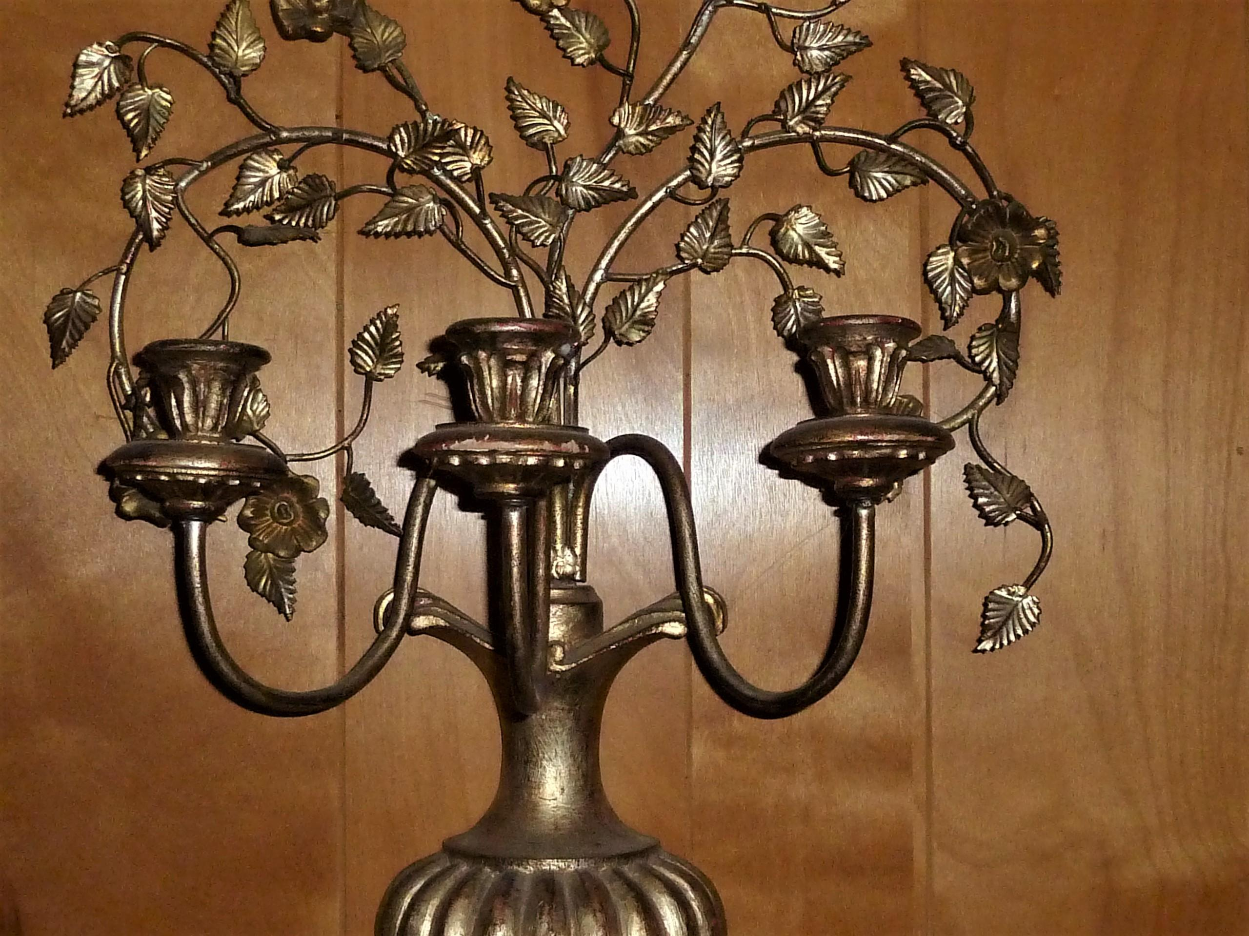 "GORGEOUS ANTIQUE HANGING 33"" VICTORIAN/GOTHIC BRASS/WOOD ROSE CANDELABRA appraisal"