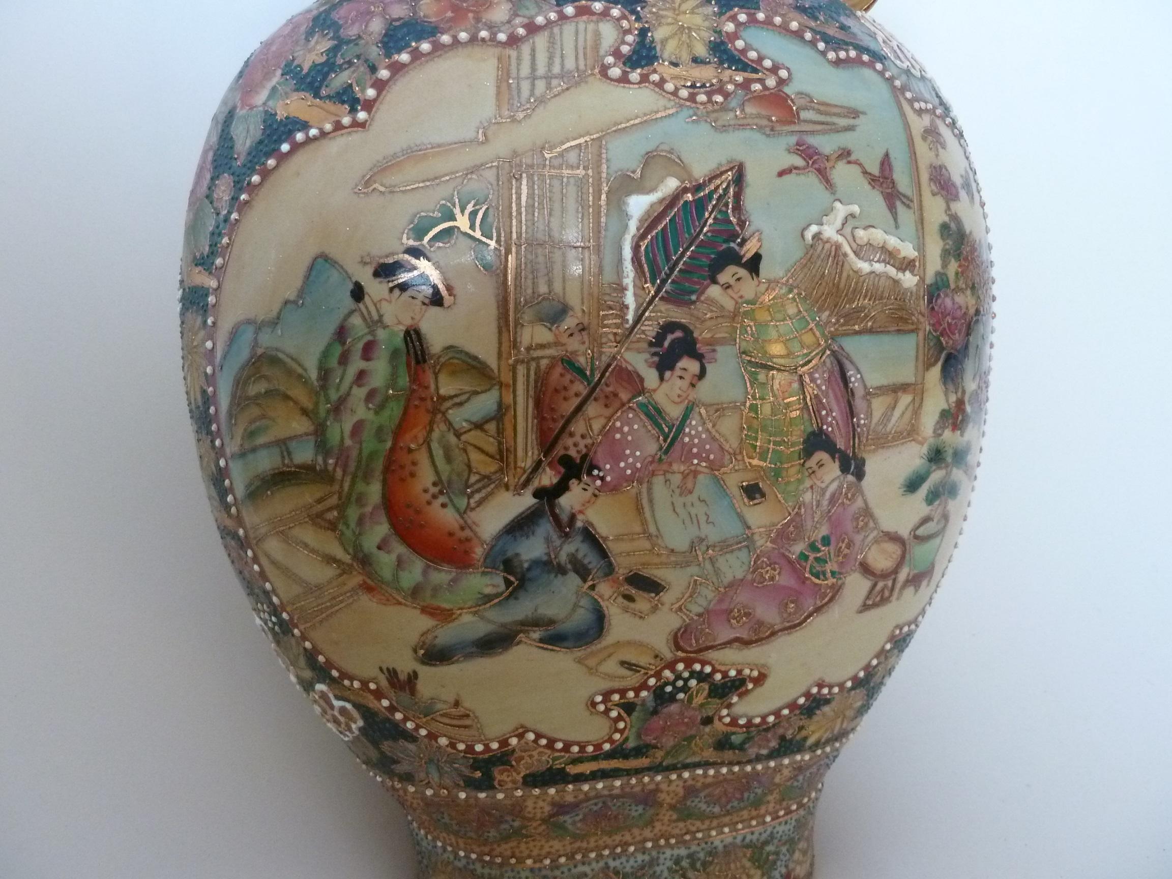 """Elaborate Large Antique 24"""" Chinese porcelain moriage moon flask vase. Japanese Geisha  appraisal"""