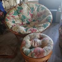 Bamboo, Wicker, Vintage, Rattan , Papasan Chair
