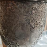 Antique silver goblet hand engraved