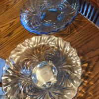 Light blue crystal platter/bowl conversion set