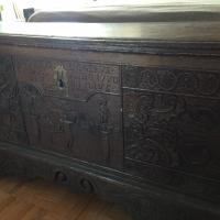 Antique Wood Spanish Trunk with Latin Inscriptions and Dated 1780