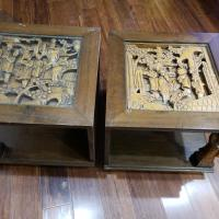 Two Japanese engraved tables