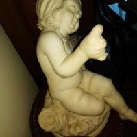 Antique Alabaster Baby w/Bird in Hand Statue
