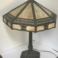 8 Panel Slag Glass Lamp Off