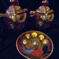Golden dragons porcelain teapot set taper steroids