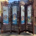 Chinese room divider, lacquered wood and painted ceramic tiles