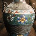 Antique Asian Enameled Metal Colorful Vase / Urn with Family Crest on Bottom and Two Circular Handles